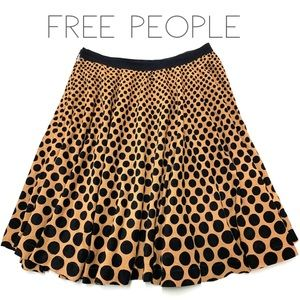 Free People tan black dot cord circle skirt 10 M